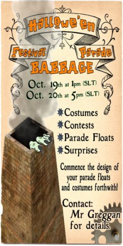 Babbage Halloween Parade sign