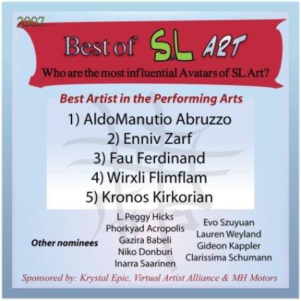 Best of SL Art 2007 - Best Artist in the Performing Arts